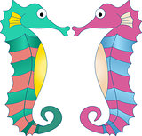 Colorful Seahorses