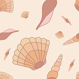 Seamless pattern with hand drawn shells