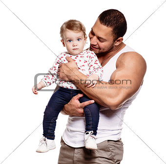 Athletic father with lovely daughter