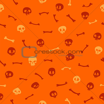 Cartoon Skulls on Orange Background Seamless Pattern