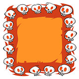 Cartoon Skulls Square Frame on White Background