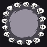 Cartoon Skulls Round Frame