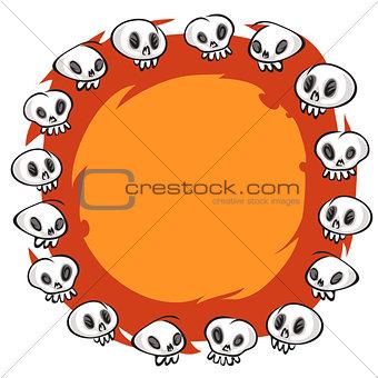 Cartoon Skulls Round Frame on White Background