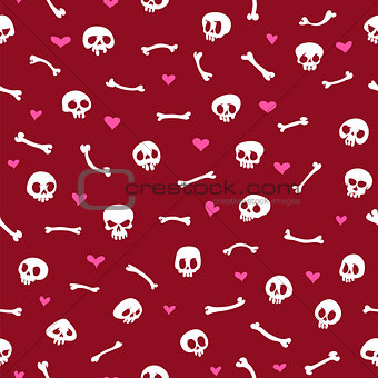 Cartoon Skulls with Hearts on Red Background Seamless Pattern