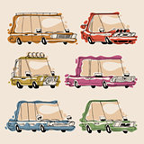 Retro Cartoon Cars Set