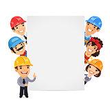 Builders Presenting Empty Vertical Banner