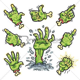 Cartoon Zombie Hands Set for Horror Design