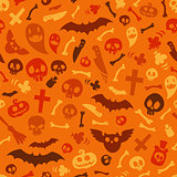 Halloween Symbols Seamless Pattern Orange