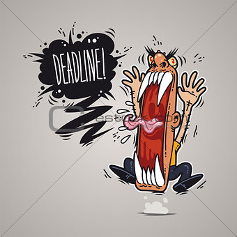 Angry Boss Screaming Deadline.