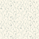 Clear floral blue on beige seamless pattern