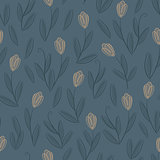 Floral blue seamless pattern with yellow tulips
