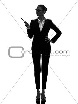 business woman pointing showing  silhouette