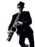 man saxophonist playing saxophone player  silhouette