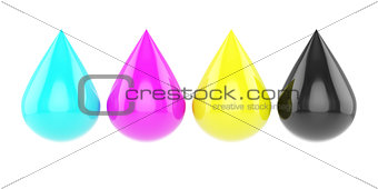 Four glossy cmyk drops isolated on white background