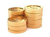 Stacks of golden coins isolated on a white background