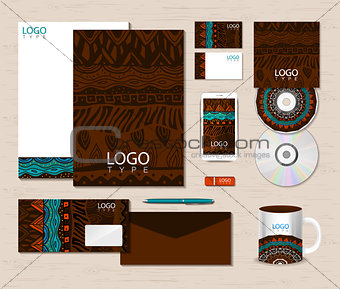 Corporate identity template with ethnic ornaments.