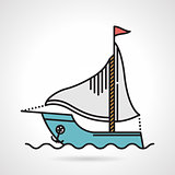 Sailing yacht flat vector icon