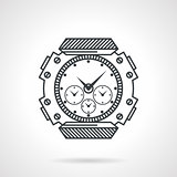Sport watch black line vector icon