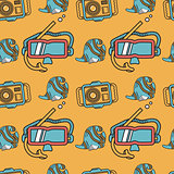 Colored flat design vector background for snorkeling