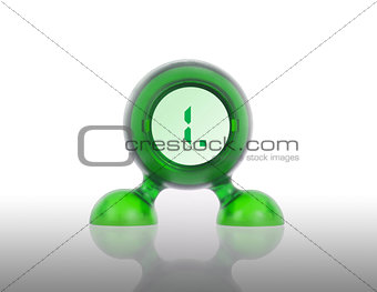 Small green plastic object with a digital display