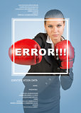 Business girl in boxing gloves. Word error, frame and text
