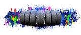 Seven new car wheels. Abstract background is colored blots