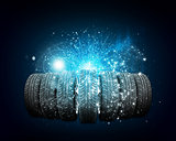 Car wheels. Abstract dark background is magic lines and stripes
