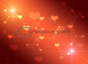 Abstract composition of red lines and hearts