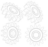 Collection of wire-frame gears
