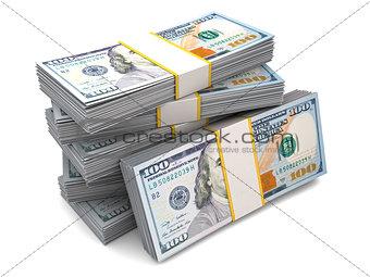 six packs of hundred dollar bills