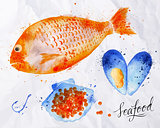 Seafood watercolor fish, red caviar, mussel
