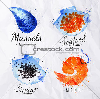 Watercolor signs seafood