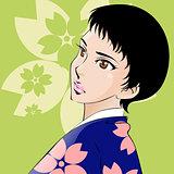 Beautiful japanese woman wearing pink and violet kimono