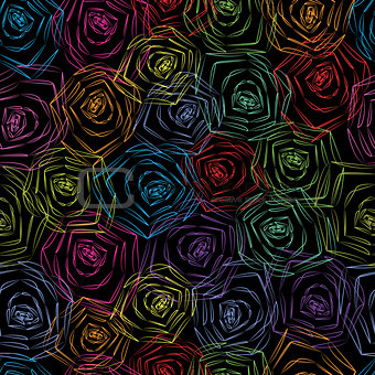 Abstract seamless floral colorful background.