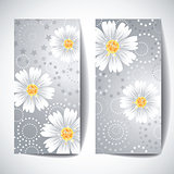 Two banners with daisy flowers on white background.