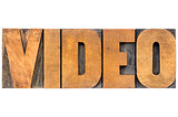video word in wood type