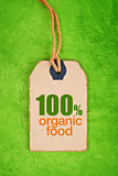 100 Percent Organic Food on Price Label Tag