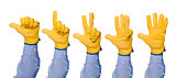 Construction Engineer Counting with Fingers from One to Five
