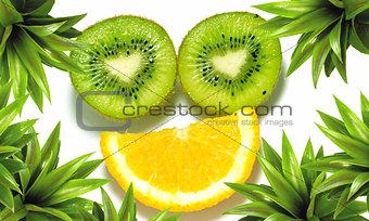 Kiwi, orange