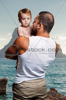 Athletic father with adorable little daughter
