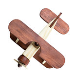 Wooden airplane model top view isolated