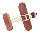 Wooden airplane model bottom view isolated