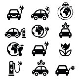 Eclectric car, green or eco transport icons set