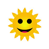 Bright yellow sun smiling