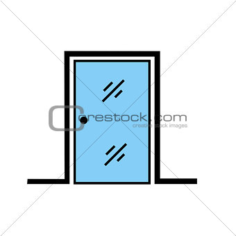 Abstract glass door with frame