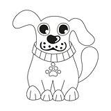 Cute dog wearing collar with pet paw tag, coloring book page