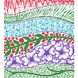 Colorful background with floral hand drawn patterns with sun, grassy, fain drops, flowers