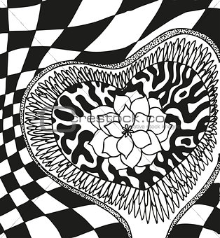 Abstract background with doodling hand drawn patterns with flower heart