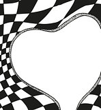 Valentines Day Frame in the form of heart with a chess background
