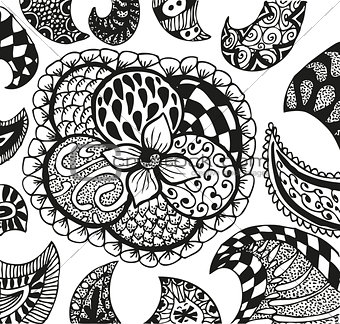 Abstract background with doodling hand drawn patterns